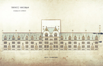 Trinity College, Students Rooms [Jarvis Hall, Long Walk]: Quad Elevation [with alternate tower scheme, flap down]
