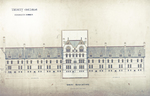 Trinity College, Students Rooms [Jarvis Hall, Long Walk]: West Elevation [with alternate tower scheme, flap down]
