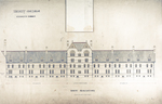 Trinity College, Students Rooms [Jarvis Hall, Long Walk]: West Elevation [with alternate tower scheme, flap up]