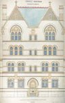 Trinity College, Students Rooms [Jarvis Hall, Long Walk]: Elevation of Central Portion, East