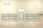 Trinity College, Lecture Rooms [Seabury Hall, Long Walk]: Quad Elevation [with alternate tower scheme, flap down]
