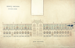 Trinity College, Lecture Rooms [Seabury Hall, Long Walk]: Quad Elevation [with alternate tower scheme, flap up]