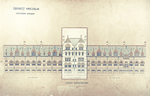 Trinity College, Lecture Rooms [Seabury Hall, Long Walk]: West Elevation [with alternate tower scheme, flap down]