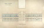 Trinity College, Lecture Rooms [Seabury Hall, Long Walk]: West Elevation [with alternate tower scheme, flap up]