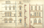 Trinity College, Lecture Rooms [Seabury Hall, Long Walk]: Elevation of Central Portion - West
