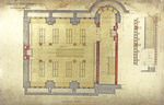 "Trinity College, Lecture Rooms [Seabury Hall, Long Walk]: Basement Floor: Library [plan and interior elevation at ""A""]"