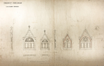 Trinity College, Lecture Rooms [Seabury Hall, Long Walk]: Stone Dormers [sections, elevations, plans]