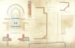 Trinity College, Lecture Rooms [Seabury Hall, Long Walk]: Entrance Door: Plans of Door Jamb, Plan of Arch, Section of Door Head, Section Through Door Sill, Label Mold, Corbel