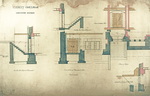 Trinity College, Lecture Rooms [Seabury Hall, Long Walk]: Basement Floor: Section through Steps to Basement, Section through Steps Looking Out, Elevation of Basement Door, Inside Elevation of Door, Plan of Steps, Elevation of Coping to Front Steps by Francis Hatch Kimball